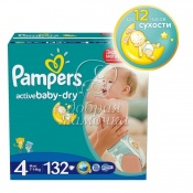 Подгузники Pampers Active Baby Мега №4 (7-14кг) 132 шт.