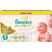 Подгузники Pampers Premium Care Мега №3(5-9кг) 120шт.